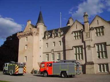 Brodie Castle and fire engines