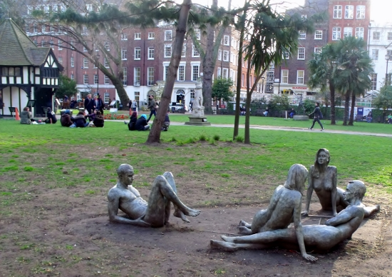 Naked statues in Soho Square