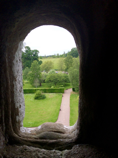 window in Drum Castle roof